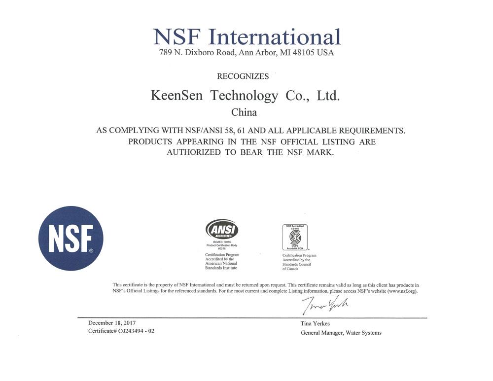 NSF认证证书58,61